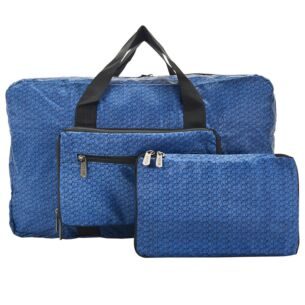 Navy Disrupted Cubes Recycled Foldaway Holdall Bag