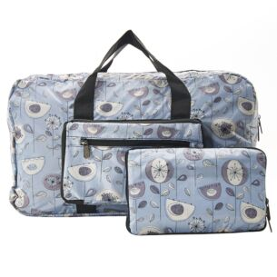 Eco Chic Grey 1950's Flowers Foldaway Holdall Bag