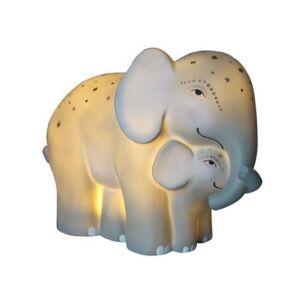 Large Mother & Baby Elephant Lamp
