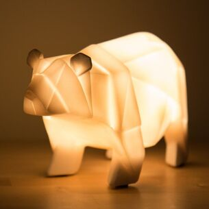 Large White Bear Origami Lamp