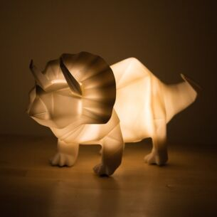 Large White Dinosaur Origami Lamp