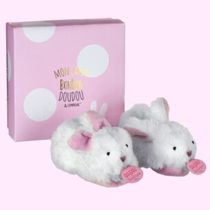 Doudou et Compagnie Pink Bonbon Boxed Baby Booties