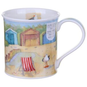 Coastal View Beach Huts Bute Shape Mug