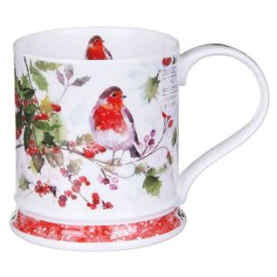 Christmas Robins Holly Iona Shape Mug