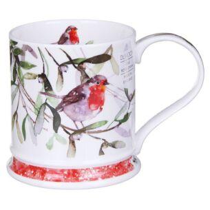 Christmas Robins Mistletoe Iona Shape Mug