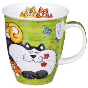Cats & Kittens Green Nevis Shape Mug