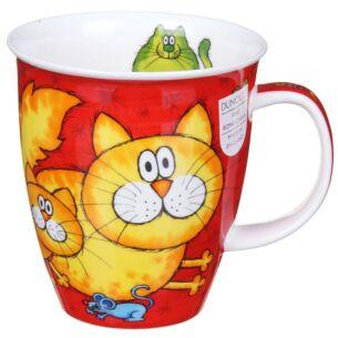 Cats & Kittens Red Nevis Shape Mug