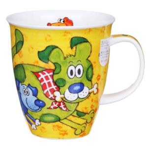 Dogs & Puppies Yellow Nevis Shape Mug