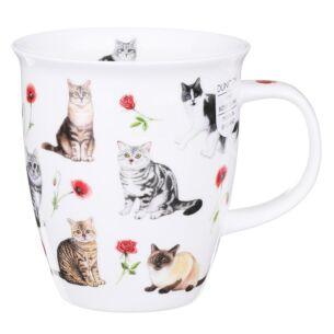 Flower Cats Red Nevis Shape Mug