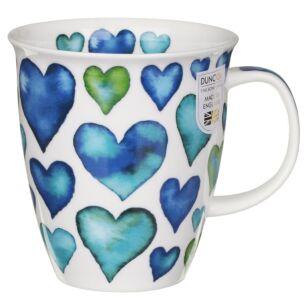 Love Hearts Blue Nevis Shape Mug