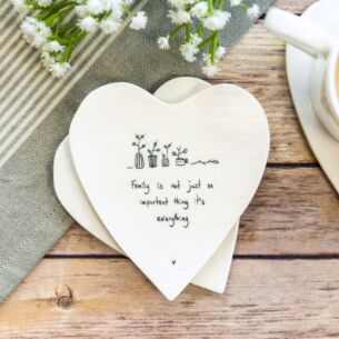 East of India 'Family is Everything' Heart Shaped Coaster
