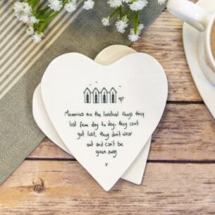 East of India 'Memories Are the Loveliest Things' Heart Shaped Coaster