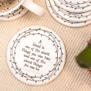 A Friend Is One Of The Nicest Things Porcelain Leaf Coaster