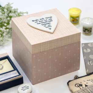 'Footprints on Our Hearts' Pink Wooden Box