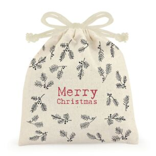 'Merry Christmas' Berry Small Drawstring Canvas Bag
