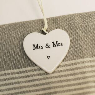 East of India Mrs & Mrs Porcelain Heart