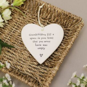 'Grandchildren' Porcelain Hanging Heart