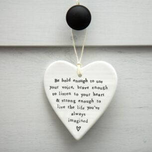 'Be Bold' Round Porcelain Heart