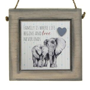 Elephants Love Never Ends Wooden Plaque