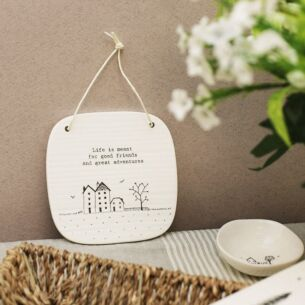 'Adventures' Square Porcelain Hanging Sign