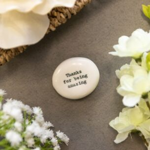 'Thanks for Being Amazing' Porcelain Pebble