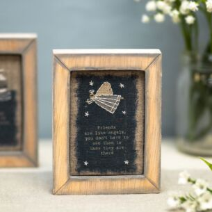 'Friends Like Angels' Embroidered Box Frame
