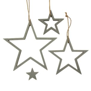 Grey Hanging Outline Star Set