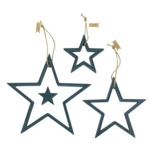 Navy Blue Wood Outline Star Set