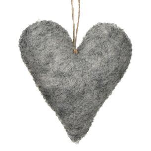 Light Grey Felt Hanging Heart