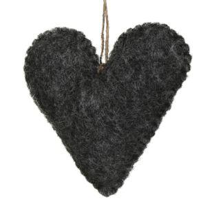 Charcoal Felt Hanging Heart
