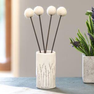 Single Decorative White Pompom Flower