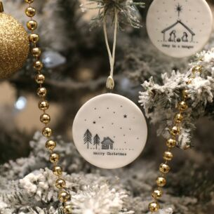 'Merry Christmas' Trees Flat Porcelain Bauble