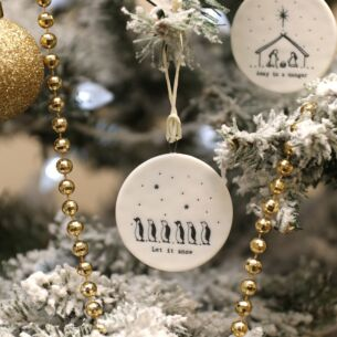 'Let It Snow' Flat Porcelain Bauble