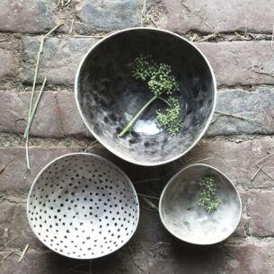 Set of Three Colour Wash and Dots Boxed Bowls