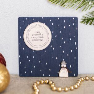 Snowman Merry Christmas Small Square Sign