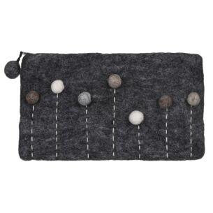 Charcoal Felt Pompom Cosmetic Bag