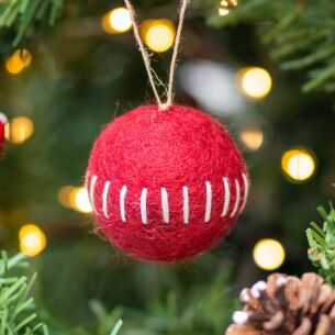 Felt Embroidered Red Bauble