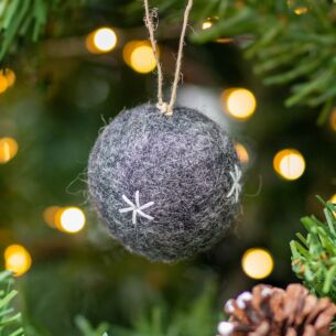 Felt Embroidered Grey Bauble