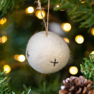 Felt Embroidered White Bauble