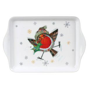 Bug Art Robin Small Melamine Christmas Tray