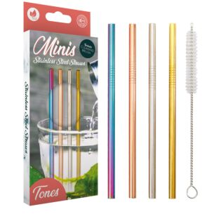 Echo Three Multi Coloured Stainless Steel Mini Straws
