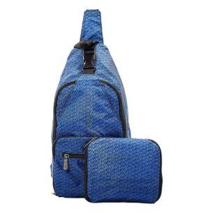 Navy Disrupted Cubes Recycled Foldaway Crossbody Bag
