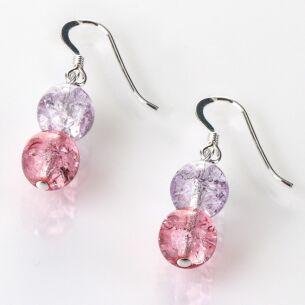 Carrie Elspeth Purple/Pink Crackle Globes Earrings