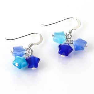 Blue Cats Eye Stars Earrings