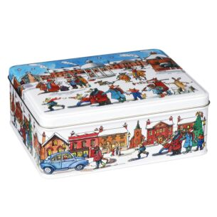 Deep Rectangular Winter Scene Tin