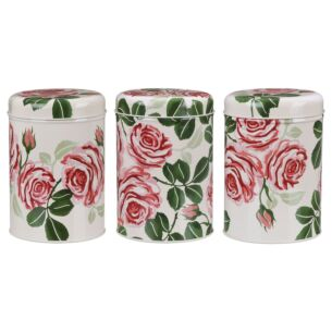 Pink Rose Set of Three Round Caddies