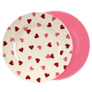 Pink Hearts Two Tone Bamboo Plate