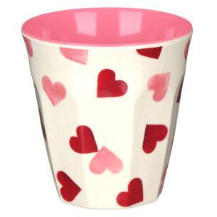 Pink Hearts Two Tone Bamboo Beaker