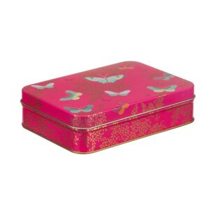 Small Rectangular Pink Butterfly Tin