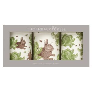 Rabbit & Cabbage Set of Three Caddies